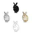 gray rabbitanimals single icon in cartoonblack vector image
