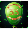 Green balloon with golden inscription thirty three vector image vector image