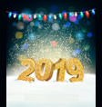 holiday new year background with 2019 and garland vector image vector image