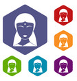 indian woman icons set hexagon vector image vector image