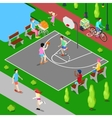 Isometric People Playing Basketball in the Park vector image