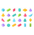 isometric shapes 3d geometric form flat geometry vector image