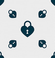 Lock in the shape of heart icon sign Seamless vector image