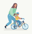 mother teaching girl to ride the bike vector image