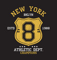new york bklyn vintage number graphic for t-shirt vector image vector image