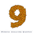 number nine of autumn leaves vector image