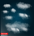 photorealistic white clouds transparent set vector image