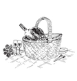 Picnic basket with wine and glasses vector image vector image
