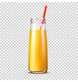 realistic orange juice bottle with straw vector image