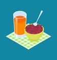 red bean porridge and fruit juice breakfast vector image vector image
