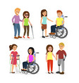set disabled people vector image
