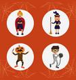 set of kids halloween costumes vector image