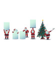 set of santa claus with blank vector image vector image
