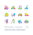 set simple line icons agricultural machinery vector image vector image