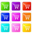 shopping cart icons 9 set vector image vector image