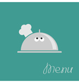 Silver platter cloche Chef hat with eyes Menu card vector image vector image