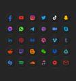 social media dark mode 3d modern neumorphic round vector image vector image