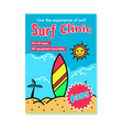 surf clinic recruitment poster vector image vector image