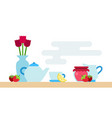 tea set dishes with flowers and jam icon flat vector image vector image