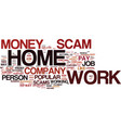 the number one work at home scam explained text vector image vector image