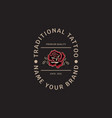 traditional tattoo roses vintage logo template vector image vector image