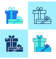 two gift boxes icon set in flat and line style vector image vector image