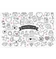 valentines day hand drawn doodles objects vector image
