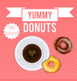 vintage donuts and coffee cartoon poster package vector image