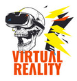 virtual reality skull wearing glasses background v vector image