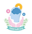 world mental health day hands human head brain vector image vector image