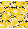 yellow and black modern marigold seamless pattern vector image