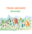 Travel funny card with landscape and animals vector image