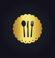 spoon fork food gold logo vector image