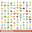 100 park icons set flat style vector image vector image