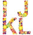 Alphabet from fruit IJKL vector image vector image