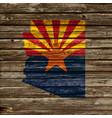 arizona map flag on old timber wall vector image vector image