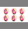 avatar icon woman comic face art cheerful vector image vector image