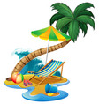 beach scene with seat and umbrella vector image vector image