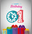 birthday card with candle number one vector image vector image