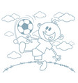 boy with a soccer ball vector image vector image