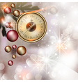 bright christmas background with clock vector image vector image