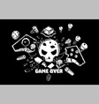 broken joystick gamepad parts video game poster vector image vector image