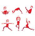 cartoon santa claus yoga pose set collection of vector image vector image