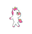 cartoon unicorn character eats donut vector image