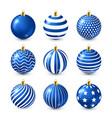 christmas tree shiny blue balls set new year vector image vector image