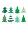 collection christmas trees modern flat design vector image