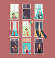 collection windows with people apartment vector image