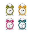 colored alarm clocks collection in silver design vector image