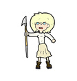 comic cartoon woman with harpoon vector image vector image
