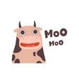 cow mooing cute cartoon farm animal making sound vector image vector image